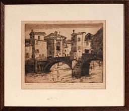 Sale 9113 - Lot 2047A - Will Ashton - The Old Bridge, Sospel, France 17 x 22.5 cm (frame: 33 x 38 x 2 cm)