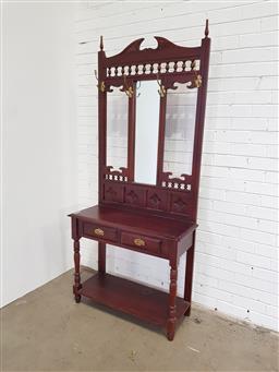 Sale 9157 - Lot 1028 - Mirror back 2 drawer hall stand (h210 x w92 x d40cm)