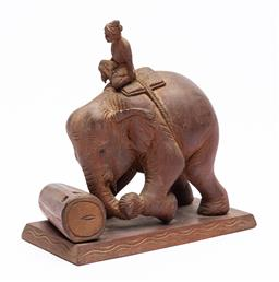 Sale 9170H - Lot 45 - A carved timber figural group of elephant and rider, some losses, Height 24.5cm