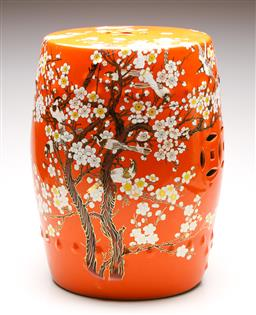 Sale 9246 - Lot 1 - A Chinese orange ground drum stool featuring birds amongst branches (H:44.5cm Dia:30cm)