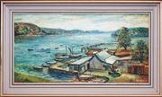 Sale 8411A - Lot 5090 - Andy Lomnici (XX) - Como Boat Shed 29 x 59.5cm