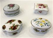 Sale 8436A - Lot 65 - A group of four fine china pill boxes including Royal Albert country roses, Limoges, Newhall and Caverswall.