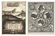 Sale 8475A - Lot 5017 - Adrian Feint (1894 - 1971) (2 works) - Bookplates for Ewing Rixson; Thelma Louise Clune 9.5 x 8cm; 10.5 x 7.5cm