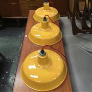 Sale 8643 - Lot 1007 - Set of Three Yellow Enamel Light Shades