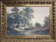 Sale 8678 - Lot 2051 - Vintage Print in Gilt Frame: Durand - Sunday Morning