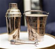 Sale 8709 - Lot 1026 - A silver plated brick pattern ice bucket and associated tongs made expressly for J K Dempster, York St Sydney together with cocktail...