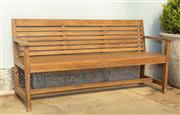 Sale 8745A - Lot 75 - A teak bench, W 156cm