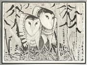 Sale 8794A - Lot 5022 - Clifton Pugh (1924 - 1990) - Owls 58.5 x 80cm (sheet)