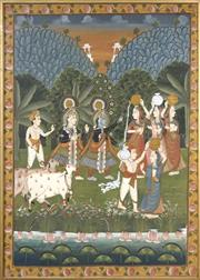 Sale 8789 - Lot 2006 - Indo Persian School - Ceremonial Scene with Deities gouache on cotton, 116.5 x 83cm. -