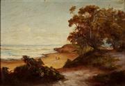 Sale 9001 - Lot 579 - Artist Unknown (Paterson?) - Beachscape with Figures, c1870s 19.5 x 28.5 cm (frame: 31 x 40 x 2 cm)