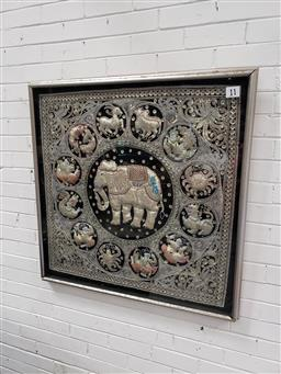 Sale 9101 - Lot 2092 - Framed Burmese silver kalaga showing zodiac (h:105 x w:105cm)