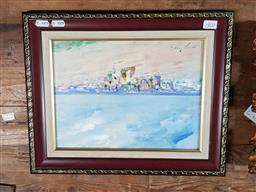 Sale 9127 - Lot 2087 - Donald Fraser Beach Scene, oil on board, frame: 33 x 41 cm, signed lower left -