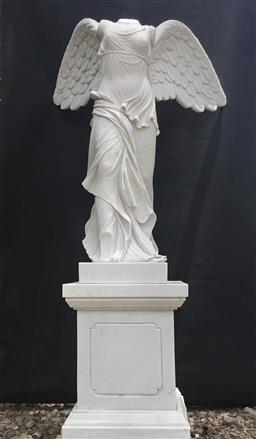 Sale 9175G - Lot 4 - Carved Marble Winged Victory of Samothrace  Statue Sculpture On Marble Base . Size:186cm H including stand x 95cm L x 82cm W.Gener...