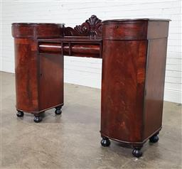 Sale 9196 - Lot 1023 - Regency Mahogany Sideboard, with two raised & partly round pedestals, each fitted with a drawer & a bow fronted cross-banded door, t...