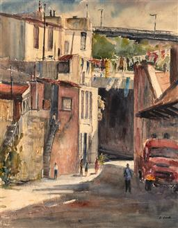 Sale 9252A - Lot 5065 - LILLIE LOWE Cumberland Street, The Rocks watercolour 44.5 x 34.5 cm (frame: 64 x 54 x 2 cm) signed lower right