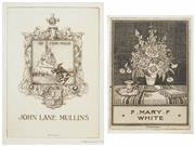Sale 8475A - Lot 5018 - Adrian Feint (1894 - 1971) (2 works) - Bookplates for John Lane Mullins; Mary White 13 x 9cm; 11.5 x 8cm