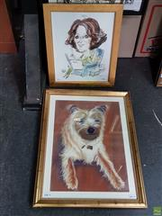 Sale 8587 - Lot 2075 - 2 Works: Theo Hutter; Artist Unknown - Terrier; Portrait of a Woman 55 x 42.5cm (frame); 40.5 x 33cm (frame)