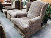 Sale 8769 - Lot 1092 - Pair of Vintage Wing Back Armchair with Animal Motif & Pair Footstools (4)