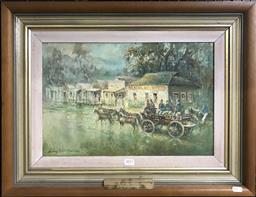 Sale 9103 - Lot 2011 - Audrey Stapleton Gold Escort - National Bank of Australasia, Scarsdale 1870oil on board, 48 x 63cm (frame) signed