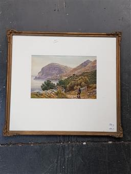 Sale 9127 - Lot 2013 - Artist Unknown Mountaineer in the Highland Scene, 1892, watercolour and gouache, frame: 55 x 60 cm, initialled W.H.M lower right -