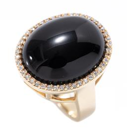 Sale 9213 - Lot 337 - A SILVER GILT ONYX COCKTAIL RING; set with a 20 x 17mm oval onyx to surround set with zirconias, size Q , wt. 13.22g.