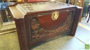 Sale 8402 - Lot 1088 - Chinese Carved Camphor Chest with Pagoda and River Scene