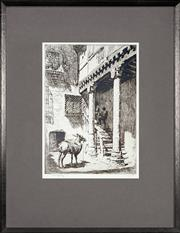 Sale 8443 - Lot 568 - Lionel Lindsay (1874 - 1961) - Spanish Town Scene 25 x 17.5cm