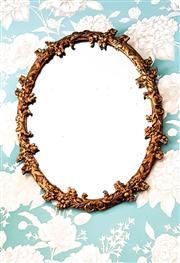 Sale 8577 - Lot 9 - A vintage Italian round gilded mirror, featuring gesso flower decorative frame, W 54 x H 65cm
