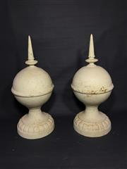 Sale 8600A - Lot 39 - Pair of white cast iron finials/spires, H 50cm.