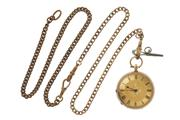 Sale 8731 - Lot 321 - AN ANTIQUE 14CT GOLD OPEN FACE LADYS POCKET WATCH; 2 tone decorative dial, Roman numerals, key wind and set, finely engraved case w...