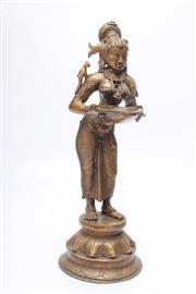 Sale 8715 - Lot 48 - A Bronze Oriental Figure Holding A Bowl ( H 30cm)