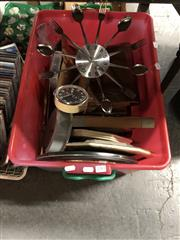 Sale 8789 - Lot 2283 - Tub of Wall Clocks & Sundries incl. Sheet Music, Brief Case, etc
