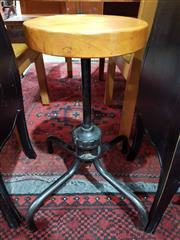 Sale 8934 - Lot 1099 - Pair of Metal Barstools with Timber Tops