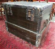 Sale 8939 - Lot 1090 - Large Chinese Pine & Iron Bound Chest, with lockable latches & articulated base. H: 79 x W: 102 x D: 78 cm