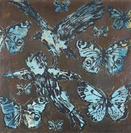 Sale 9055A - Lot 5017 - David Bromley (1960 - ) - Boy, Bird & Butterflies 110 x 110 cm (frame: 119 x 119 x 2 cm )