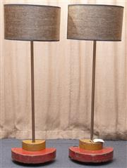 Sale 8984H - Lot 5 - A pair of Wombat Hollow lamps, the base repurposed from late C19th industrial pattern sections with demi lune tar paper shades, each..