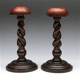 Sale 9148 - Lot 95 - Pair of barley twist wig stands with burr walnut tops (H:29cm)