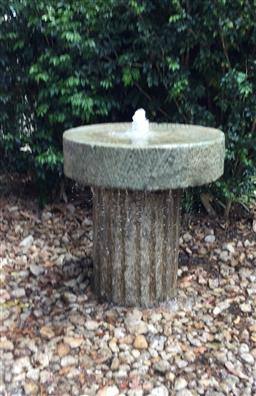 Sale 9175G - Lot 5 - An Antique Millstone On Stone Roller Base. Great for Garden Table Or Unique Water Feature .Millstone And Base Has Centre Drilled Hol...