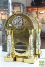 Sale 8288 - Lot 63 - French Brass Columned Clock with Key & Pendulum