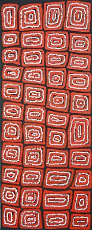Sale 8349A - Lot 36 - Thomas Tjapaltjarri (c1964 - ) - Tingari 102 x 40cm