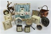 Sale 8417 - Lot 26 - Box with a Silk Lining with Various Clocks & Other Wares