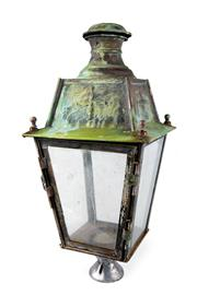 Sale 8422A - Lot 14 - A large early French well weathered copper and iron gate-post lantern, unwired, height 70cm