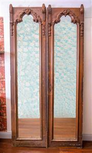 Sale 8577 - Lot 10 - A pair of C19th French armoire mirrored doors fitted with custom made hand bevelled mirror glass, some losses, H 260 x W 65cm each