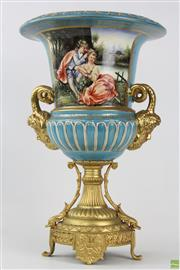 Sale 8568 - Lot 91 - French Sevres Style Gilded Urn Form Vase (H 41cm)