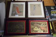 Sale 8592 - Lot 2082 - 6 Small Works: 4 Framed Brass Etchings & 2 Painted Works