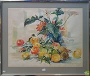 Sale 8600 - Lot 2025 - Joan Mors - Still Life Fruit and Flowers, watercolour, 54 x 68cm, signed & dated lower right
