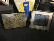 Sale 8690 - Lot 2076 - (2 works) S. Paul Overlooking the Town mixed media on paper, 40 x 43cm, plus Artist Unknown Country Track oil on board, signed i...
