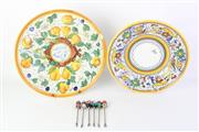 Sale 8775 - Lot 106 - Art Glass Cocktail Forks With Italian Ceramic Wall Hanging Plates (chip to one)
