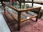 Sale 8822 - Lot 1577 - Timber and Glass Two Tier Coffee Table