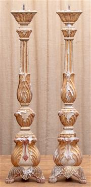 Sale 8984H - Lot 97 - A pair of timber pricket candle stands, each height 90cm